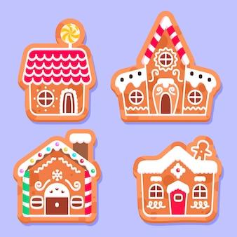 Coleção de casas de pão de gengibre plano