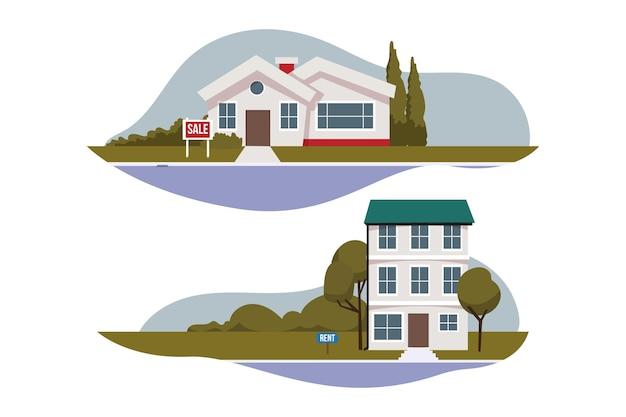 Coleção de casas para aluguel e venda