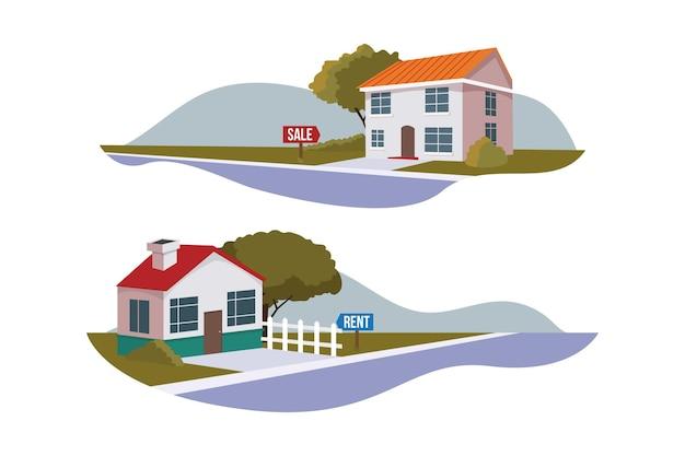 Coleção de casas para venda e aluguel Vetor Premium
