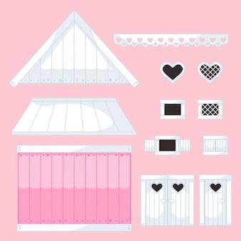 Coleção de casas peças editável