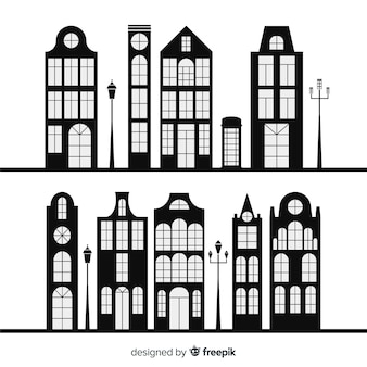 Coleção de casas preto e brancas