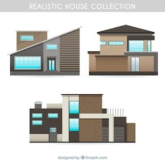 Coleção de casas realistas modernas