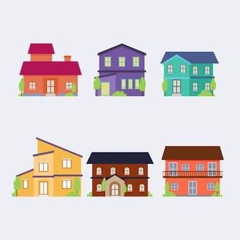 Coleção de casas urbanas coloridas