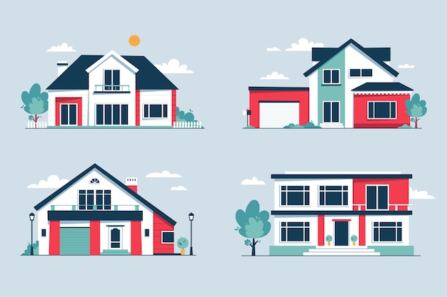Coleção de casas urbanas modernas com vista frontal
