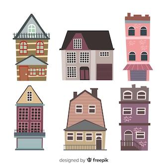 Coleção de casas vintage planas