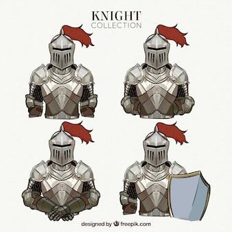 Coleção de cavaleiros desenhados a mão em diferentes poses