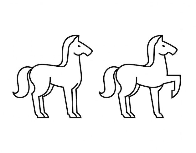 Coleção de cavalos desenhados à mão