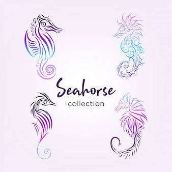 Coleção de cavalos-marinhos com linhas e cores gradientes