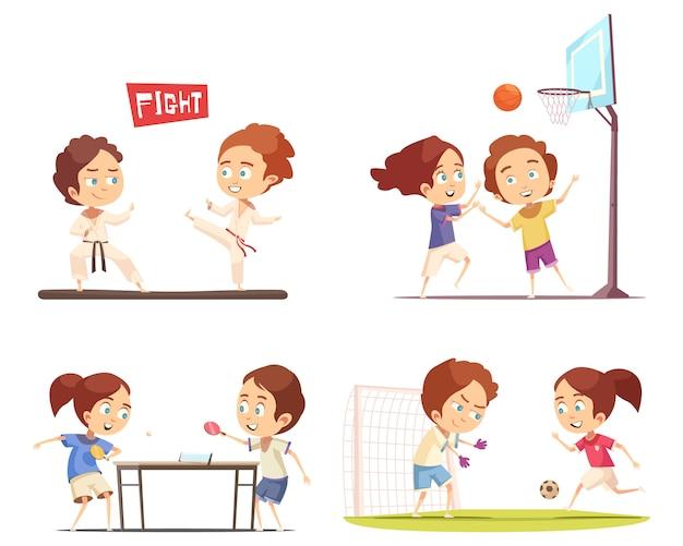 Coleção de cena de crianças esporte