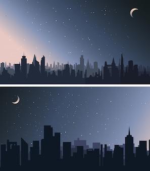 Coleção de cenários urbanos. cidades à noite.
