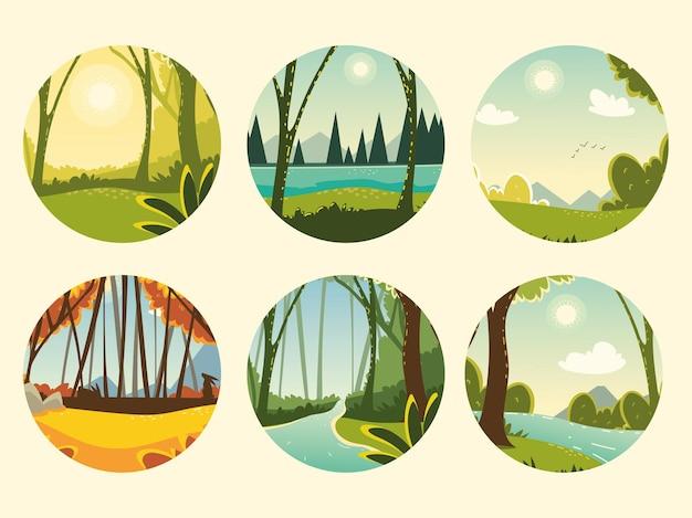 Coleção de cenas de árvores de rio e natureza