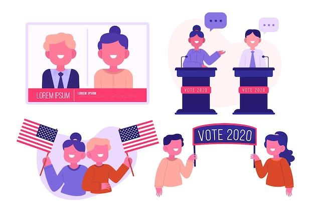 Coleção de cenas de campanha eleitoral