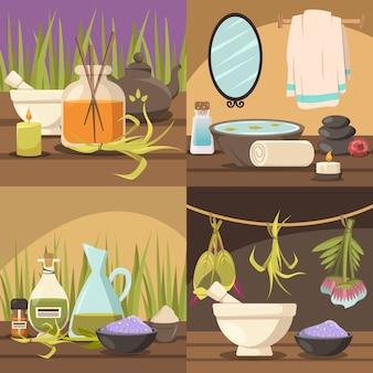 Coleção de cenas de cosmetologia natural