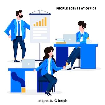Coleção de cenas de escritório plana