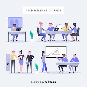 Coleção de cenas de escritório