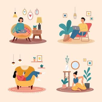 Coleção de cenas de estilo de vida hygge Vetor Premium