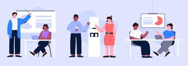 Coleção de cenas do dia de trabalho ilustrada