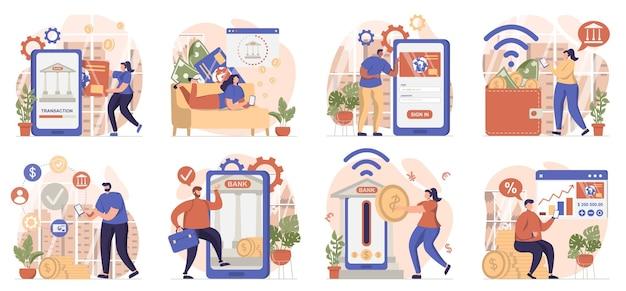 Coleção de cenas isoladas de banco móvel pessoas pagam transações e usam serviços bancários online