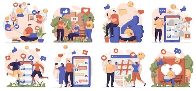 Coleção de cenas isoladas em redes sociais pessoas navegando nas postagens como conversas on-line em aplicativos