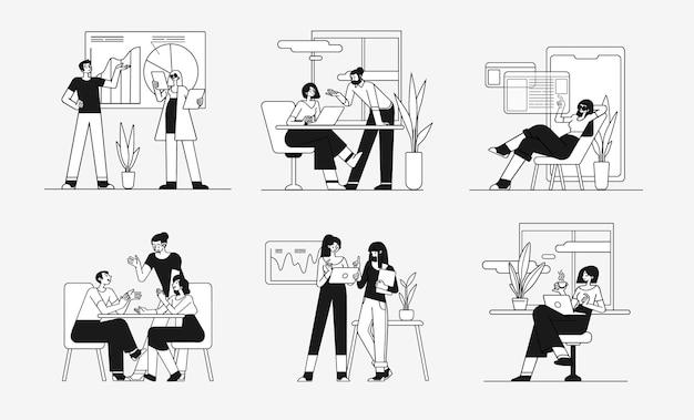 Coleção de cenas no escritório grupo de homens e mulheres participando de reunião de negócios