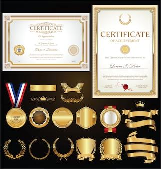 Coleção de certificados emblemas rótulos escudos e louros