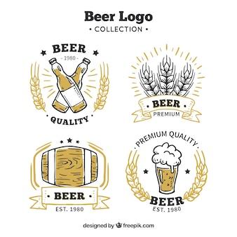 Coleção de cerveja desenhada a mão