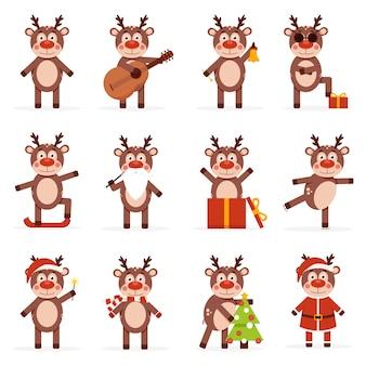 Coleção de cervos de natal