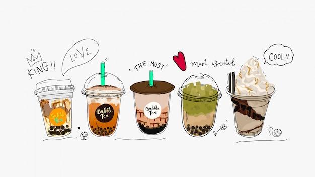 Coleção de chá bubble, chá de leite pearl e cafés.