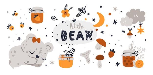 Coleção de chá de bebê com personagem fofo urso de pelúcia.