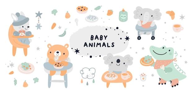 Coleção de chá de bebê com personagens de animais fofinhos
