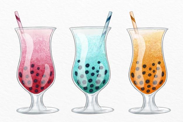 Coleção de chá de bolha com design desenhado à mão