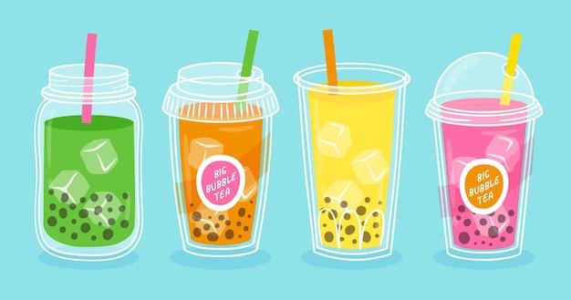Coleção de chá de bolha desenhada à mão