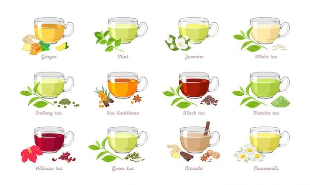 Coleção de chá de diferentes tipos.