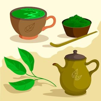 Coleção de chá e ervas matcha