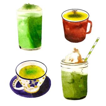 Coleção de chá matcha na mão desenhada