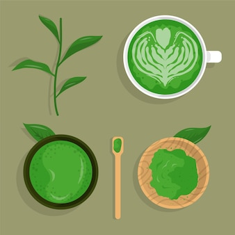 Coleção de chá matcha