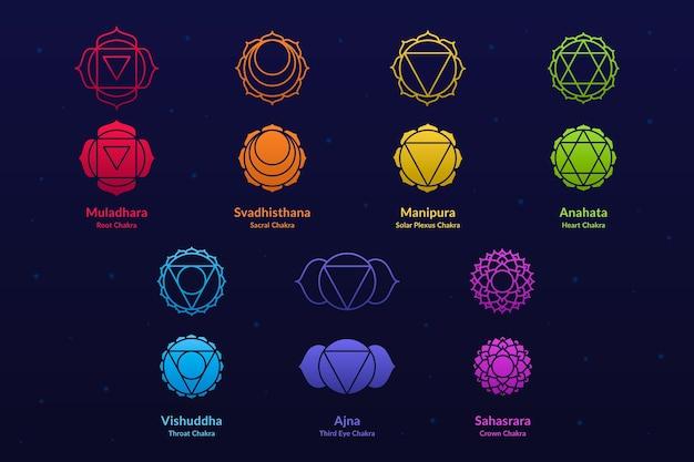 Coleção de chakras coloridos