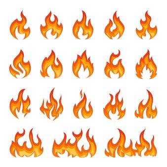 Coleção de chamas de fogo brilhante