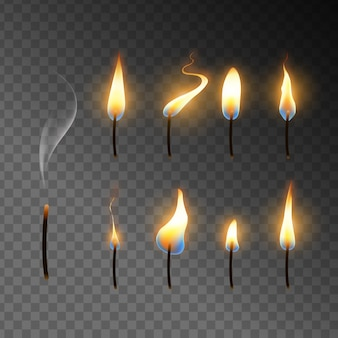 Coleção de chamas de velas