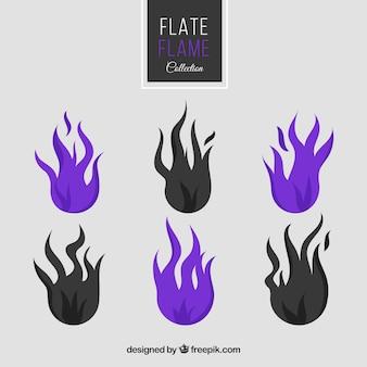 Coleção de chamas roxas e pretas em design plano