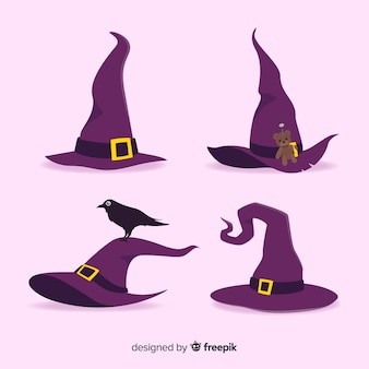 Coleção de chapéu de bruxa de halloween