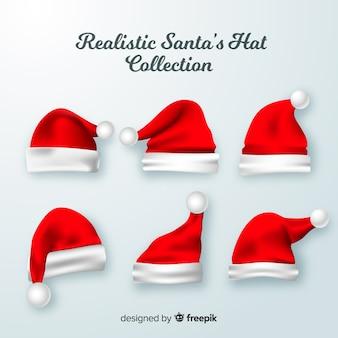 Coleção de chapéu de papai noel realista