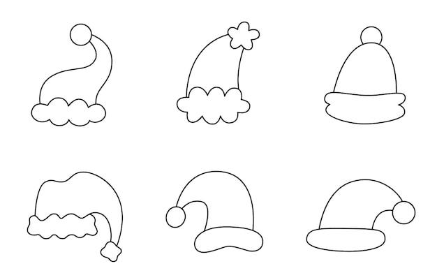 Coleção de chapéus bonitos de natal preto e branco.
