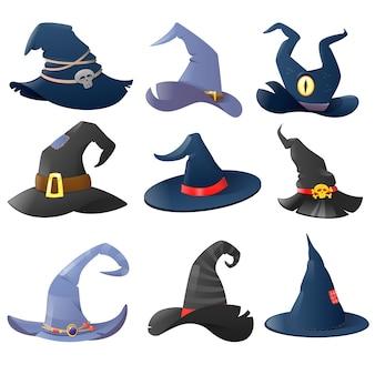 Coleção de chapéus de bruxa de desenho animado