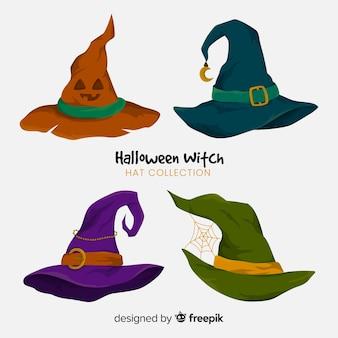Coleção de chapéus de bruxa de halloween