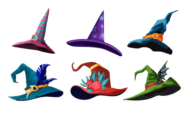 Coleção de chapéus de bruxa dos desenhos animados para seu projeto de halloween. ilustração com diferentes tipos de chapéus mágicos.