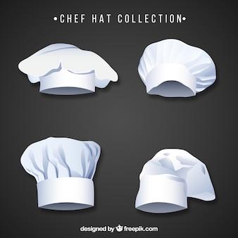 Coleção de chapéus de chef com design plano