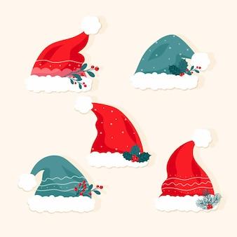 Coleção de chapéus de papai noel em design plano