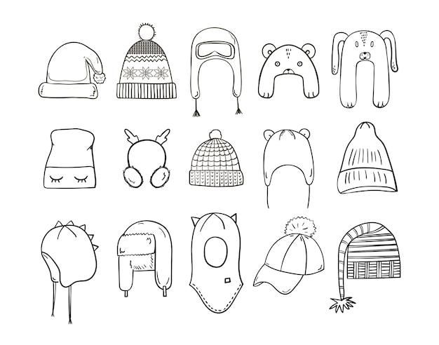 Coleção de chapéus e chapéus de inverno