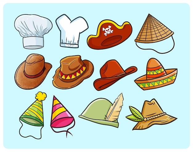 Coleção de chapéus engraçados e exclusivos em estilo doodle simples